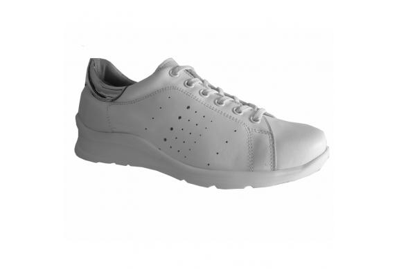 Ecosanit Mod. Bolt sneaker comoda donna forata pelle bianco argento predisposta lacci