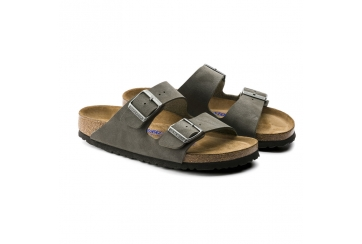 Birkenstock Arizona Soft footbed sandalo unisex Birko Flor Nabuk doppia fascia brushed emerald green Art. 0452313