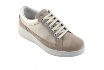 Ecosanit Loira Velour scarpa donna comoda con lacci plantare morbido estraibile