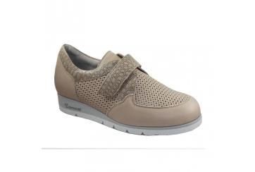 Calzaturificio F.lli Tomasi Mod. Grazia forato scarpa donna ampia pelle velcri con plantare estraibile