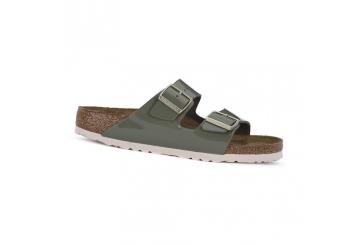Birkenstock Arizona sandalo donna Birko Flor doppia fascia calzata stretta khaki Art. 1013066
