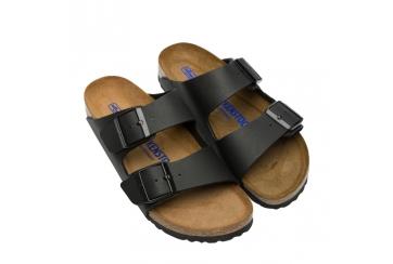 Birkenstock Arizona BS Soft footbed sandalo uomo Birko Flor doppia fascia nero Art. 0551253