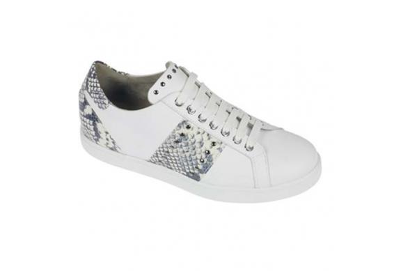 Calzaturificio F.lli Tomasi Mod. Elia sneaker donna pelle bianco lacci con plantare estraibile della linea Camminare è vivere