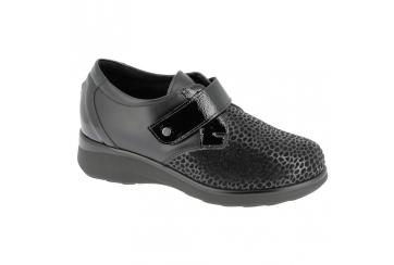 Hergos H9324 scarpa donna calzata ampia tomaia automodellante velcro nera